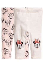 2-pack leggings - Powder pink/Minnie Mouse - Kids | H&M CN 1